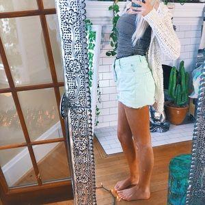 Dresses & Skirts - Denim Skirt Light Green Mini Size 6 🌿